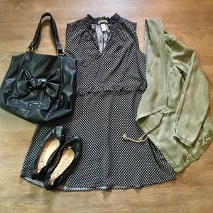 H&M black tunic top w/ ruffle detail